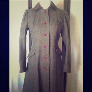 Vintage 50s Grey Wool Victorian Princess Coat